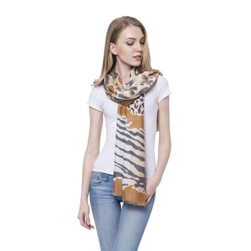 Black and White Colour Tiger Pattern Coffee Colour Scarf (Size 180x90 Cm)