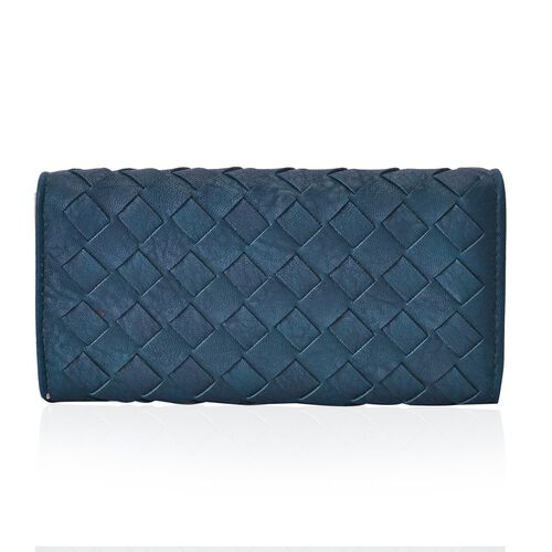 Celina Classic Dark Green Intrecciato Textured Wallet And Cardholder Set (Size 19x10x2.5 and 10.5x8x2.5 Cm)