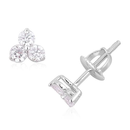 ILIANA 18K White Gold IGI Certified Diamond (Rnd) (SI G-H) Stud Earrings (with Screw Back) 0.500 Ct.