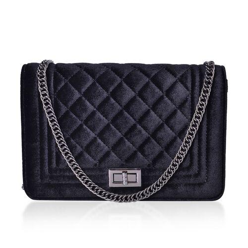 Designer Inspired - Black Colour Diamond Pattern Velvet Crossbody Bag with Chain Strap (Size 23.5X15X7 Cm)