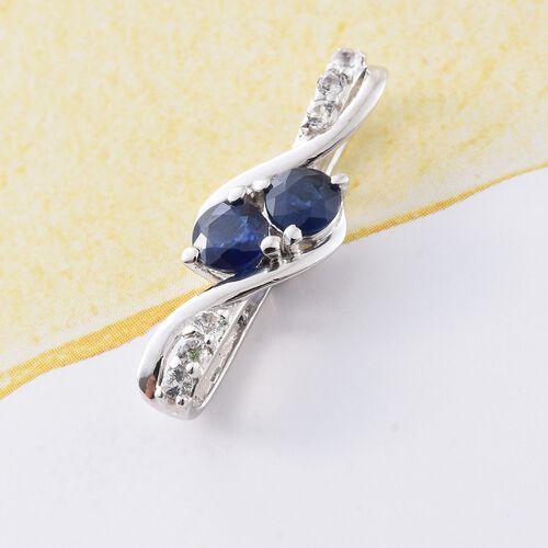 Kanchanaburi Blue Sapphire (Rnd), White Topaz Pendant in Platinum Overlay Sterling Silver 0.685 Ct.
