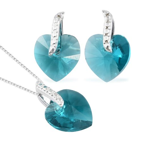 Crystal from Swarovski - Blue Zircon Crystal (Hrt) Solitaire Pendant with Chain and Earrings (with Push Back) in Sterling Silver (Equivalent Ct. wt 7.750)