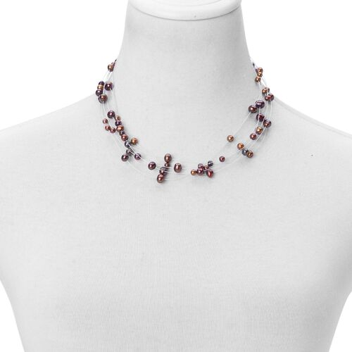 Fresh Water Chocolate Pearl Necklace (Size 18) in Rhodium Plated Sterling Silver