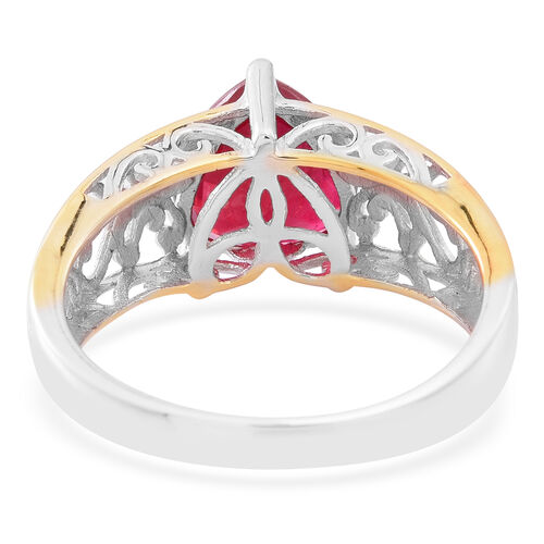Designer Inspired Limited Edition AAA African Ruby (Hrt) Solitaire Ring in Yellow Gold and Rhodium Plated Sterling Silver 4.500 Ct.