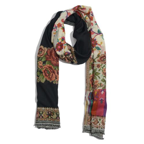 100% Merino Wool Floral Pattern Black, Red and Multi Colour Kani Pala Embroidery Twin Shawl  (Size 200x65 Cm)