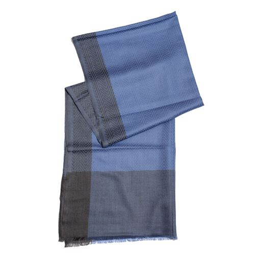 100% Cashmere Wool Fishbone Pattern Blue and Black Colour Scarf with Fringes (Size 200x70 Cm)