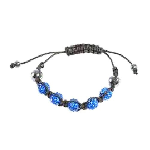 Hematite and Blue Austrian Crystal Bracelet (Adjustable)