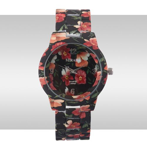 STRADA Japanese Movement Floral Black Dial Water Resistant Watch with Stainless Steel Back and Floral Pattern Black Strap