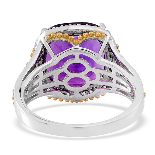 Lusaka Amethyst (Cush 8.00 Ct), Burmese Ruby and Natural Cambodian White Zircon Ring in Rhodium Plated Sterling Silver 8.500 Ct.
