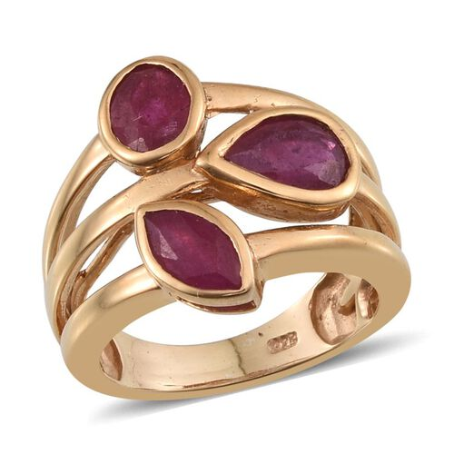 African Ruby (Pear 1.75 Ct) Ring in 14K Gold Overlay Sterling Silver 3.500 Ct.