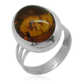 Royal Bali Collection Baltic Amber (Ovl) Solitaire Ring in Sterling Silver 3.480 Ct.