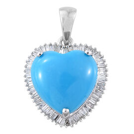 Signature Collection- ILIANA 18K White Gold 3.33 Ct AAAA Arizona Sleeping Beauty Turquoise Halo Heart Pendant with Diamond SI G-H