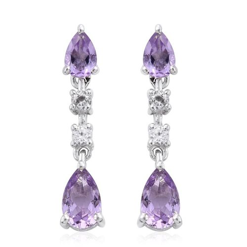 Rose De France Amethyst (Pear), White Topaz Dangling Earrings (with Push Back) in Platinum Overlay Sterling Silver 2.500 Ct.