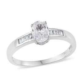 AA Natural Cambodian Zircon (Ovl 1.50 Ct) Ring in Platinum Overlay Sterling Silver 1.750 Ct.