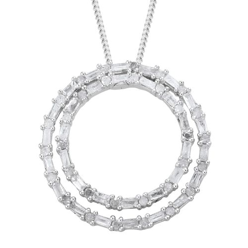 Designer Inspired- Fireworks Diamond (Rnd and Bgt) Concentric Circle Pendant With Chain in Platinum Overlay Sterling Silver 0.500 Ct.