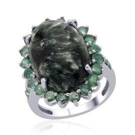 Siberian Seraphinite (Ovl 9.50 Ct), Kagem Zambian Emerald Ring in Platinum Overlay Sterling Silver 11.000 Ct.