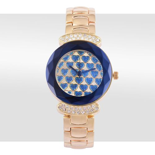 GENOA Japanese Movement Blue Heart Pattern Dial Watch with White Austrian Crystal in Yellow Gold Tone