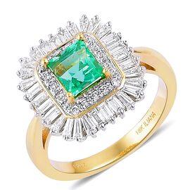 ILIANA 18K Yellow Gold 2.25 Ct AAAA Boyaca Colombian Emerald, Diamond (SI/G-H) Ring