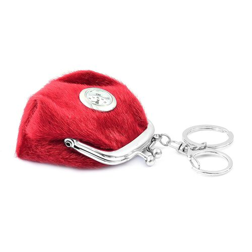 Set of 2 - STRADA Japanese Movement White Dial Red Colour Coin Purse Design Water Resistant Key Chain Watch in Silver Tone