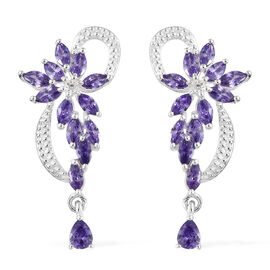 AAA Simulated Amethyst (Mrq), Simulated Diamond Earrings (with Push Back) in Sterling Silver.