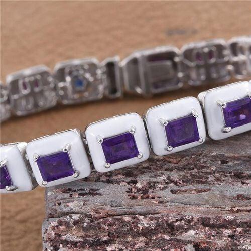 GP Amethyst (Bgt), Kanchanaburi Blue Sapphire Tennis Bracelet (Size 7.5) in Platinum Overlay Sterling Silver 11.020 Ct.