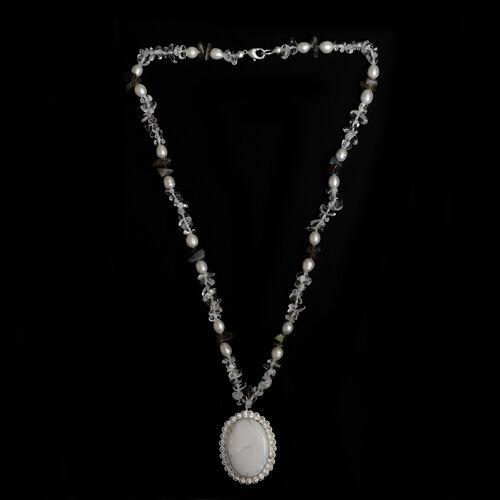Austrian Crystal, Howlite, Labradorite, Fresh Water Pearl Necklace (Size 20)  116.900  Ct.