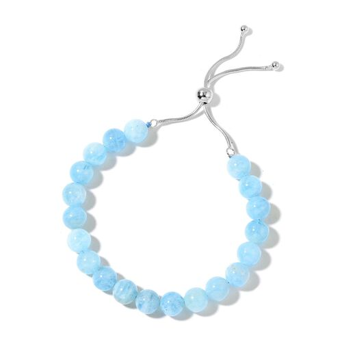 Rare AAA Espirito Santo Aquamarine Adjustable Ball Beads Bracelet (Size 6.5 to 8.5) in Rhodium Plated Sterling Silver 74.000 Ct.