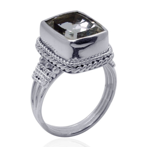 Royal Bali Collection Golconda Diamond Topaz (Oct) Solitaire Ring in Sterling Silver 6.940 Ct.