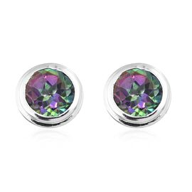 Northern Lights Mystic Topaz 1 Carat Silver Stud Earrings in Platinum Overlay (with Push Back)