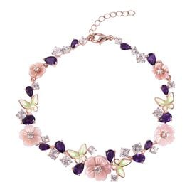 Jardin Collection - Pink Mother of Pearl, White Topaz and Amethyst Enameled Butterfly and Flower Bracelet (Size 7.5 with 1 inch Extender) in Rose Gold Overlay Sterling Silver