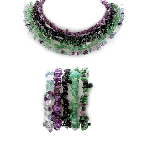 Amethyst, Green Aventurine, Fluorite, Black Obsedian and Ruby Zoisite Necklace and Bracelet 1125.000 Ct.
