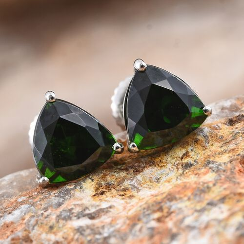 RHAPSODY 950 Platinum 3 Carat AAAA Russian Diopside Trillion Stud Earrings (with Screw Back)