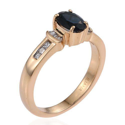 ILIANA 18K Yellow Gold AAA Very Rare Monte Belo Indicolite (Ovl 1.05 Ct), Diamond (SI G-H) Ring 1.250 Ct.