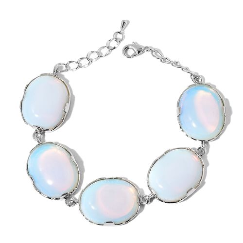 Designer Inspired Opalite Bracelet (Size 8 with 1 inch Extender) in Silver Tone 101.000 Ct.