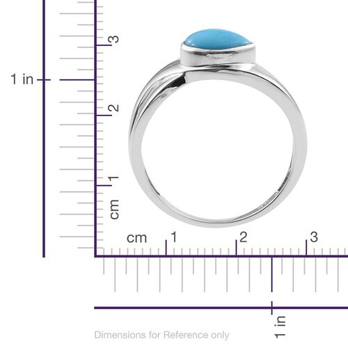 Arizona Sleeping Beauty Turquoise (Pear) Solitaire Ring in Platinum Overlay Sterling Silver 1.250 Ct.