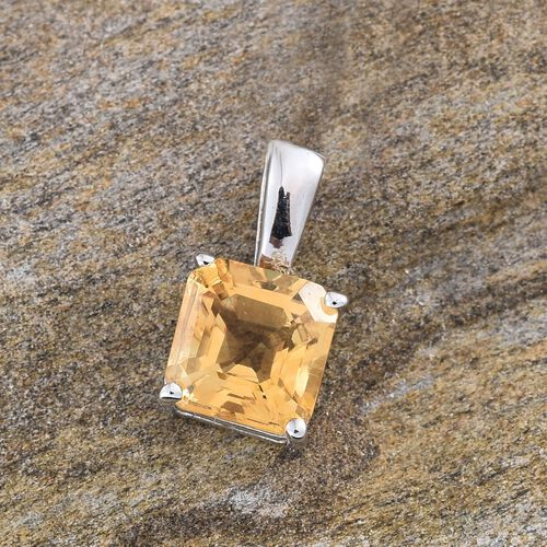 Citrine (Oct) Solitaire Pendant in Platinum Overlay Sterling Silver 1.500 Ct.