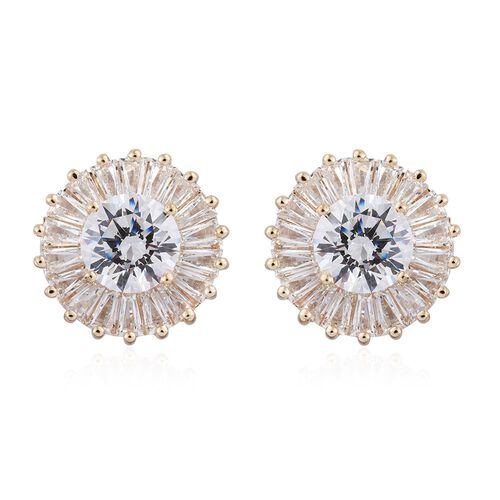J Francis - 9K Yellow Gold Stud Earrings Made with SWAROVSKI ZIRCONIA  (with Push Back)
