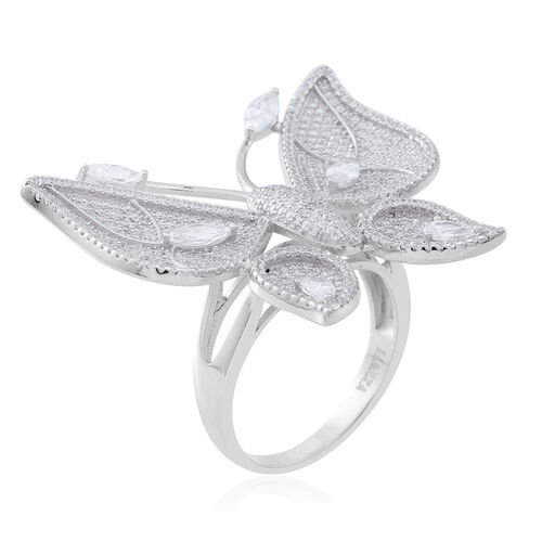 Signature Collection ELANZA AAA Simulated White Diamond (Mrq) Butterfly Ring in Rhodium Plated Sterling Silver. No of Stones 486