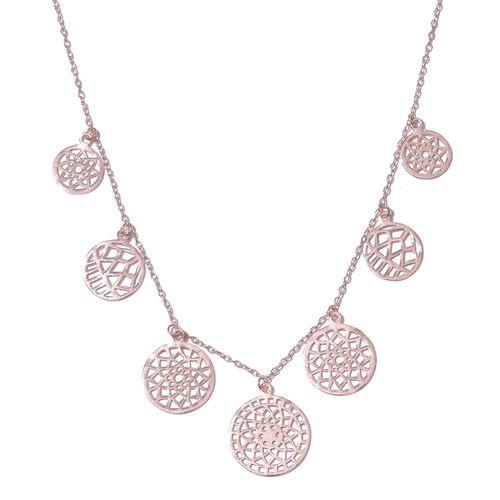 Designer Inspired Rose Gold Overlay Sterling Silver Floral Disc Necklace (Size 18), Silver wt. 8.01 Gms.