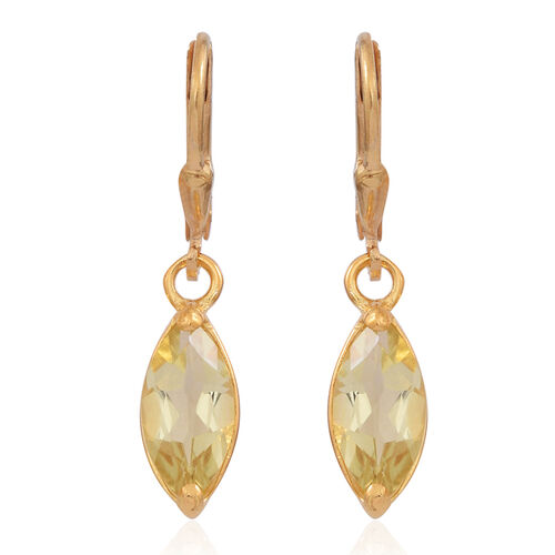 Lemon Quartz (Mrq) Lever Back Earrings in 14K Gold Overlay Sterling Silver 3.000 Ct.