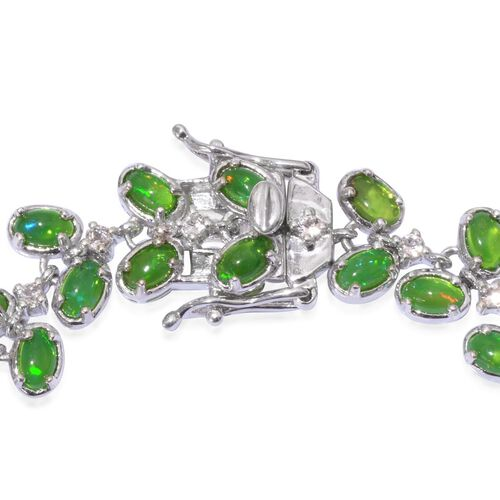 Green Ethiopian Opal (Ovl), White Topaz Bracelet in Platinum Overlay Sterling Silver (Size 7.5) 11.000 Ct.