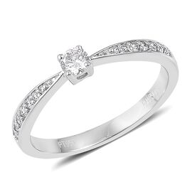 ILIANA 0.25 Carat IGI Certified Diamond (SI/G-H) Ring in 18K White Gold