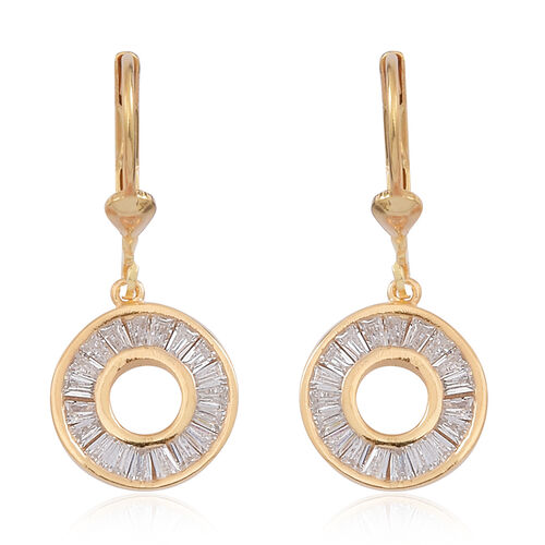 ELANZA AAA Simulated Diamond (Bgt) Lever Back Earrings in 14K Gold Overlay Sterling Silver