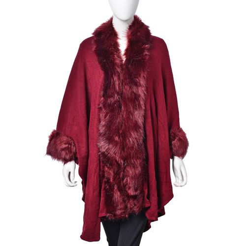 Designer Inspired - Red Colour Jacket with Faux Fur Edge (One Size)