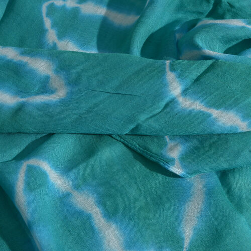 Waves Tie Dye Printed Green and White Colour Scarf (Size 180x100 Cm)