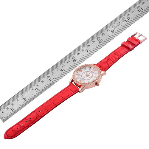 STRADA Japanese Movement White Austrian Crystal Studded White Dial Water Resistant Watch in Rose Gold Tone with Stainless Steel Back and Red Strap