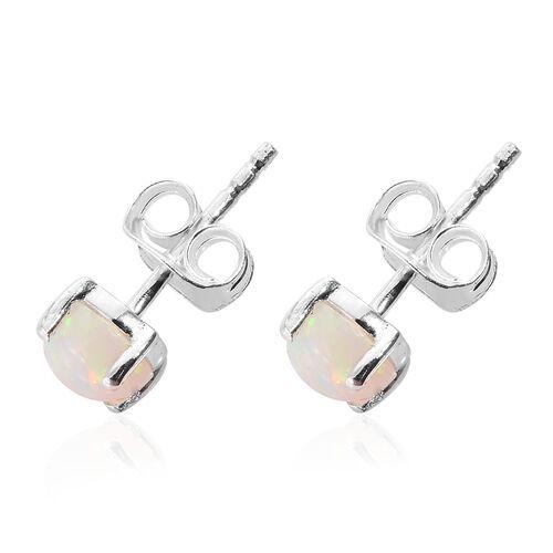 Ethiopian Welo Opal (Rnd) Stud Earrings (with Push Back) in Sterling Silver.