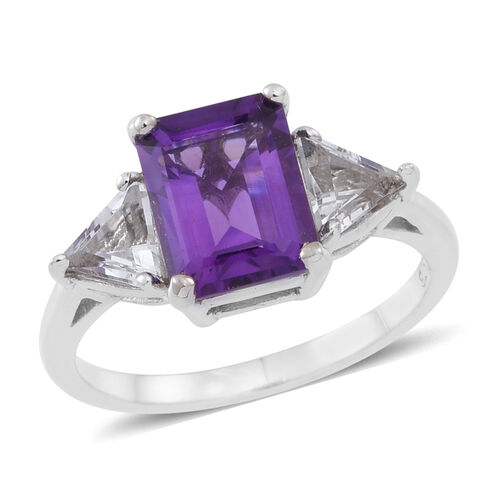 Amethyst (Oct 2.35 Ct), White Topaz Ring in Rhodium Plated Sterling Silver 3.500 Ct.