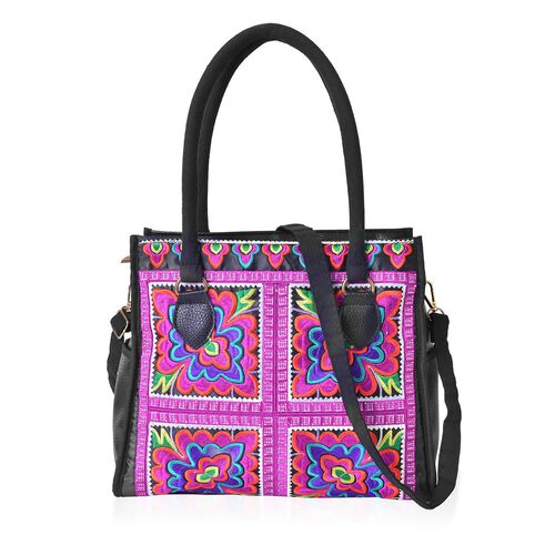 Shanghai Collection - Black, Pink and Multi Colour Floral Pattern Chinese Ethnic Art Style Tote Bag with Removable Shoulder Strap (Size 31.5x24x11.5 Cm)