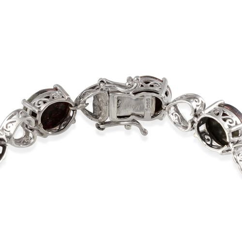(Option 2) Natural Russian Eudialyte (Ovl) Bracelet in Platinum Overlay Sterling Silver (Size 7.5) 31.250 Ct.